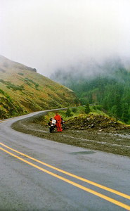 Todd in Grande Ronde Canyon in a driving rain storm.  1989.