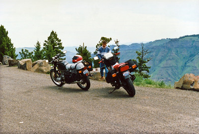 Todd Smith and our bikes on our road trip.  1990.