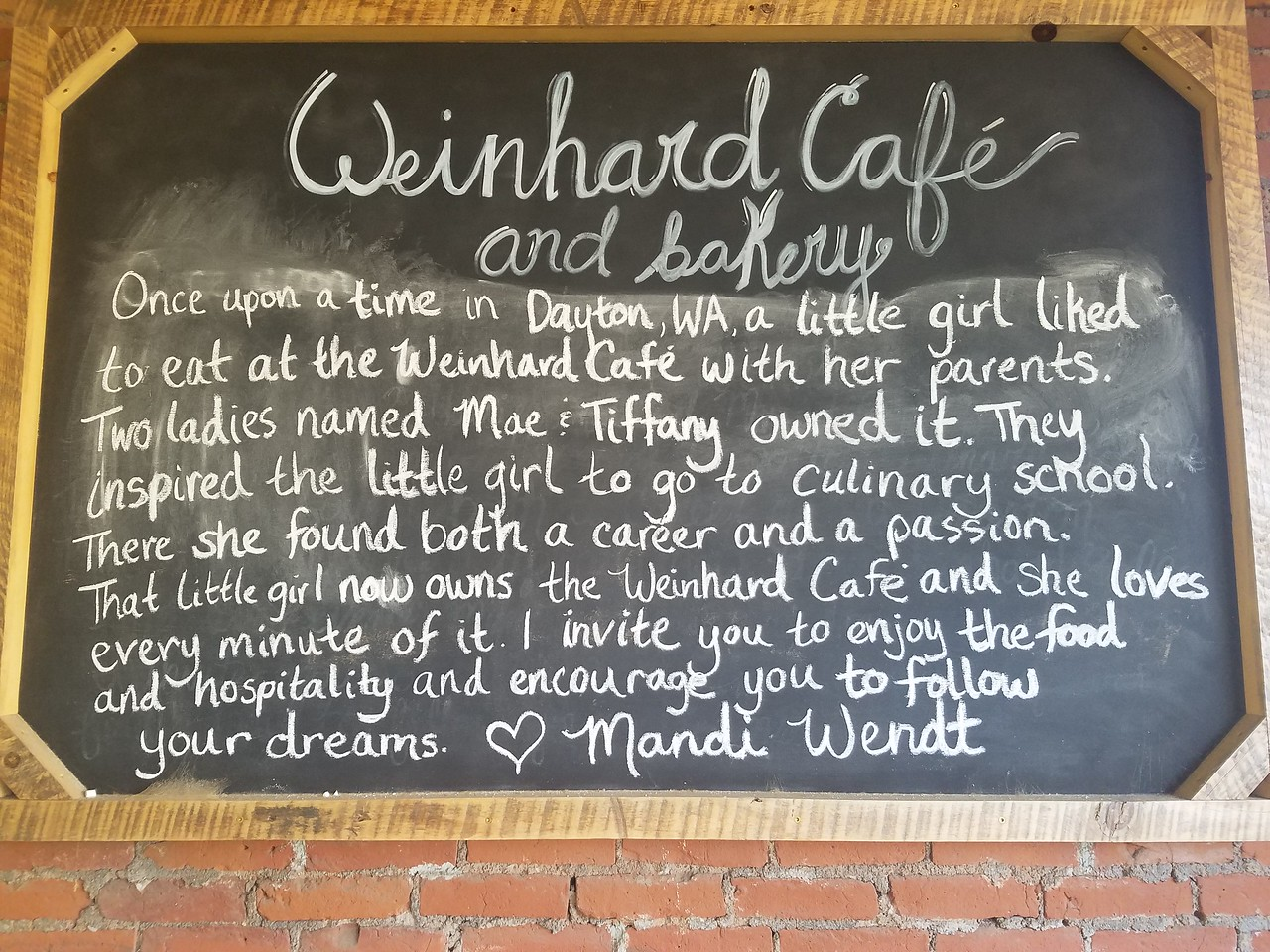 Sign on the Weinhard Cafe