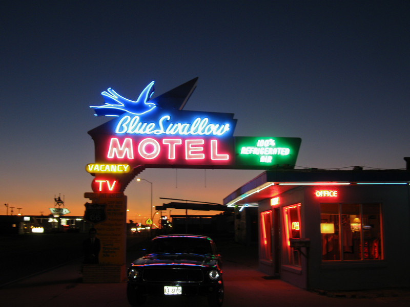 Blue Swallow neon. Note the vintage Mustang.