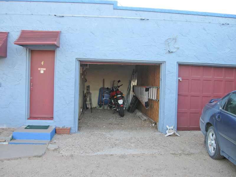 My garage at the Blue Swallow Inn on Route 66 in Tucumcari. Yes, this hotel has an attached one car garage for each motel room!
