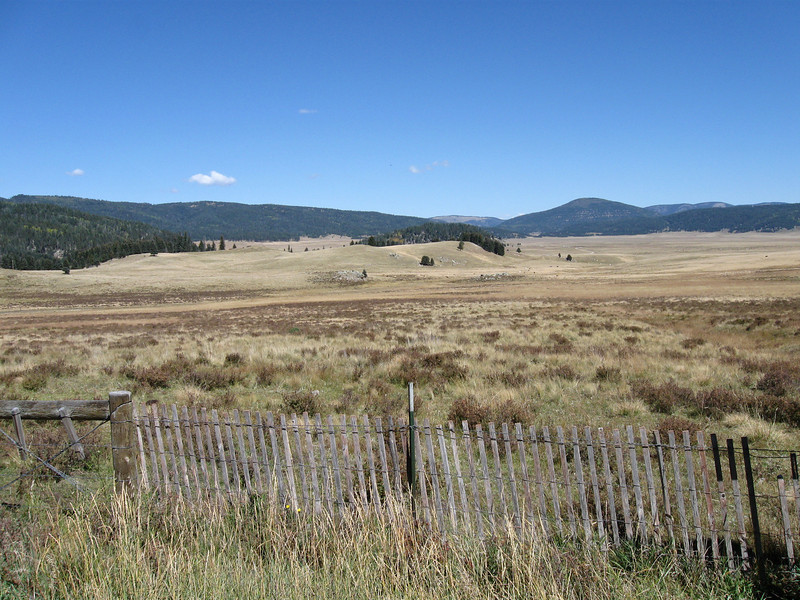 At the Valles Caldera. To give you an idea of scale, zoom in and look for the cattle and the house in this picture. One heck of a ranch (and now a combined ranch/national preserve)!