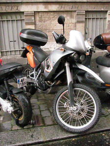 KTM 650 Adventure, same as they have here.  Street tires...