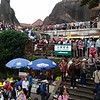 The morning thunderstorm started just as we headed for the gondola station.  Mount Huangshan became a sea of yellow and pink rain ponchos.