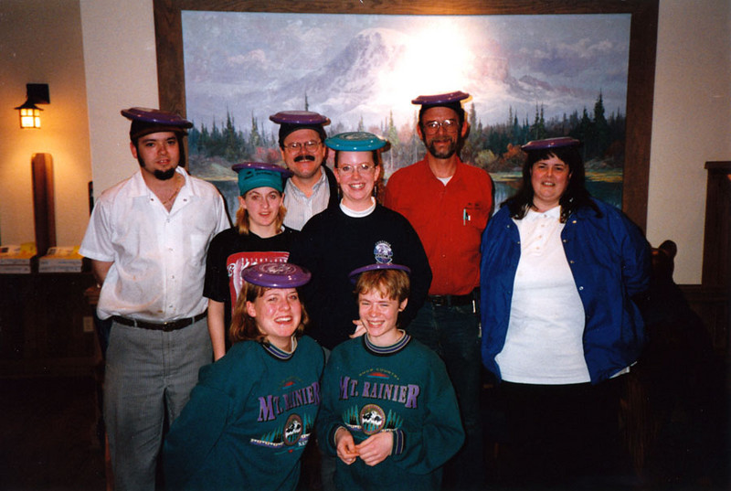 THE ORDER OF THE PURPLE FRISBEE<br /> Molly and Harmony bought and endorsed all these purple Mount Rainier souvenir Frisbees and gave them to us as season going-away presents. We were all very touched. I still have mine hanging up.