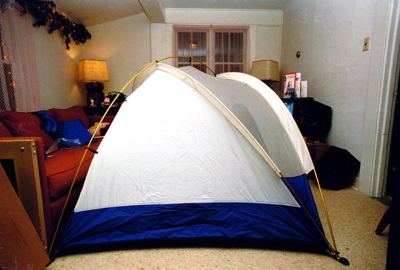 LOTS OF ROOM<br /> It took up my whole living room, but that's all right. I was just setting it up to get familiar with it. This is a great tent, let me tell you.