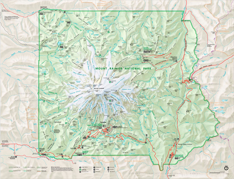MOUNT RAINIER NATIONAL PARK<br /> This is the official park map for Mount Rainier, with the mountain portrayed by the big white splat of its perpetual glaciers. This would be Home Sweet Home to me for the next year or so. Not a bad back yard, if I do say so.