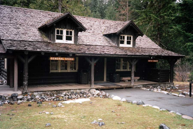 THE GENERAL STORE<br /> Longmire<br /> <br /> Constructed in an early rustic style, this building started out as a Hiker's Center, built in 1911 by the Tacoma and Eastern Railroad.