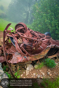 Old Car Wreck on Coastal Trail - Mount Tamalpias West Ridge