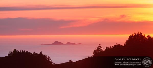 Farallone Island Sunset from Mt. Tamalpias East Peak. Sunday, Jan. 8, 2012.