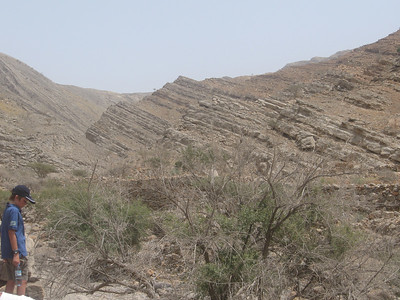 The amazing geography of the Hajer Mountains.  They look like stacks of pancakes that have been pushed over.