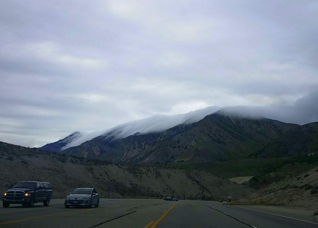 Clouds hang to the Wellsville Mountains in northern Utah