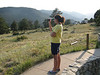 Marissa trying to photograph the elk.