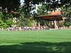 Marching band practicing on Farrand Field right outside her dorm.