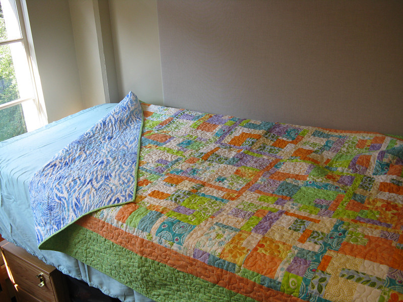 Mom made Marissa a new quilt before we left.