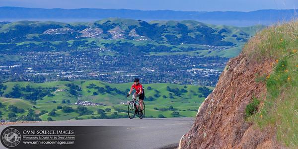 Cyclist on Mt Diablo Summit Road