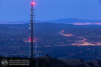 Mt Diablo Summit View Pre-Dawn Twilight looking west over HWY 24 towards Mount Tamalpias