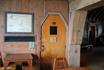 Inside Timberline Lodge, Mt. Hood, Washington.  The lodge has the original handmade doors, woodworking, etc.