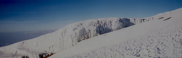 Ice cliffs at the summit.