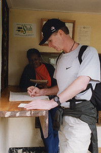 Signing in at the Machame Gate entrance to Mt Kilimanjaro