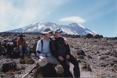 "Taking a break. ""Lunar"" landscape and summit in background."