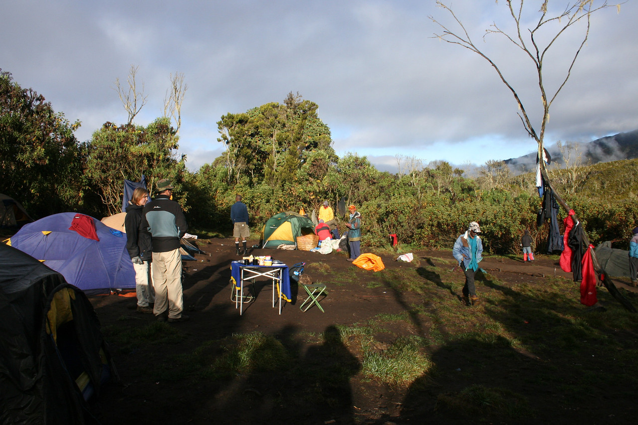 First camp on the Machame Route at 3000 meters. Temperatures around zero degrees celsius.