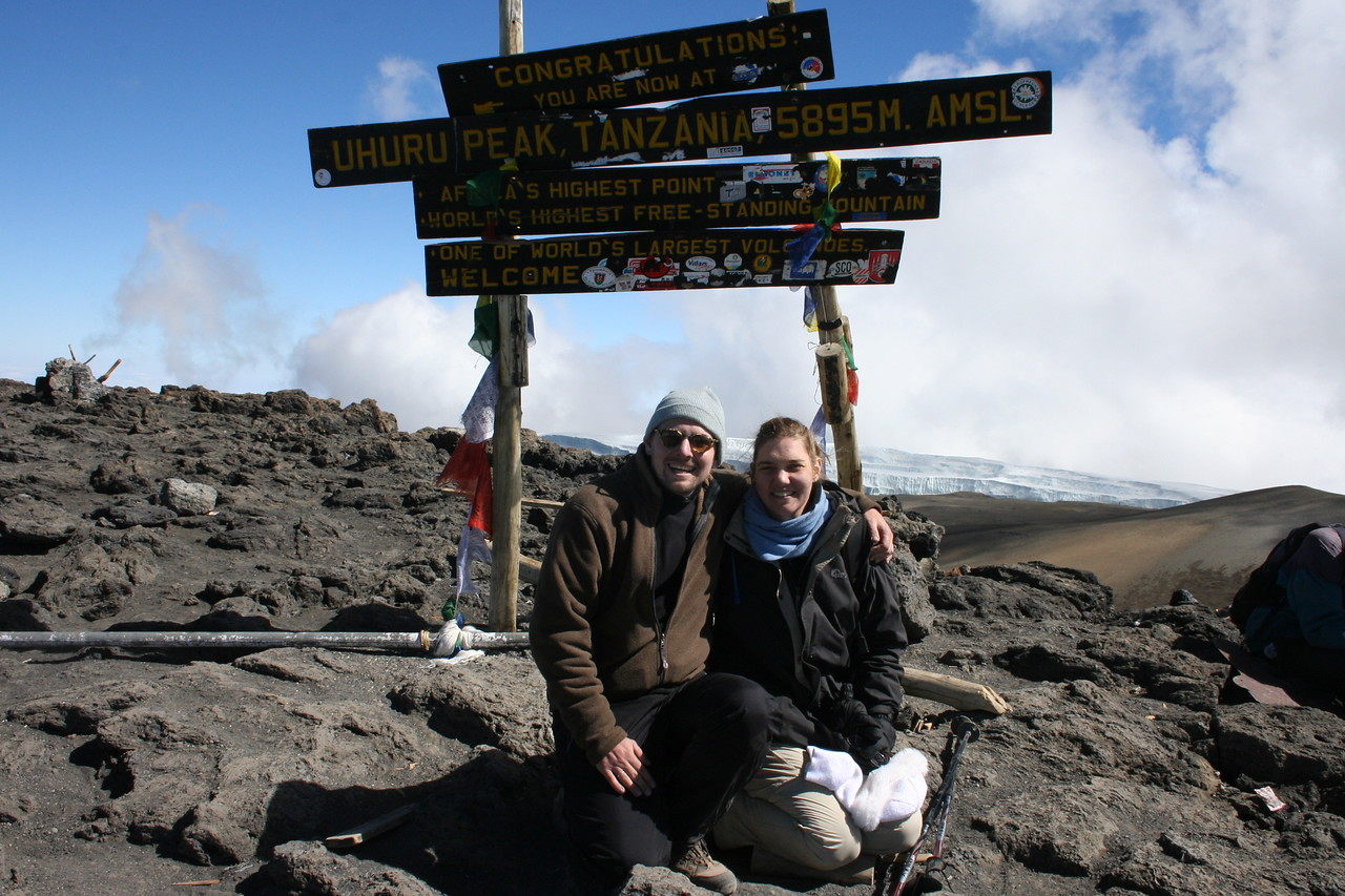 Uhuru Peak, summit of Mt Kilimanjaro and highest point in Africa at 19,340 ft./5,895 mt.