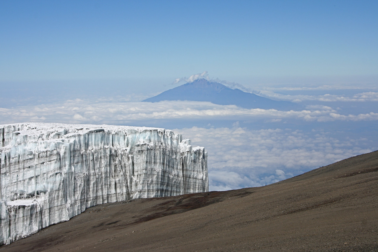 View from the Summit region of Mt Kilimanjaro towards Mt Meru.
