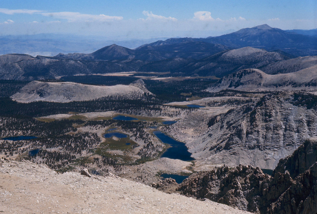 Looking back at the Cottonwood Lakes where we had camped on Saturday night and where our backpacks were stowed