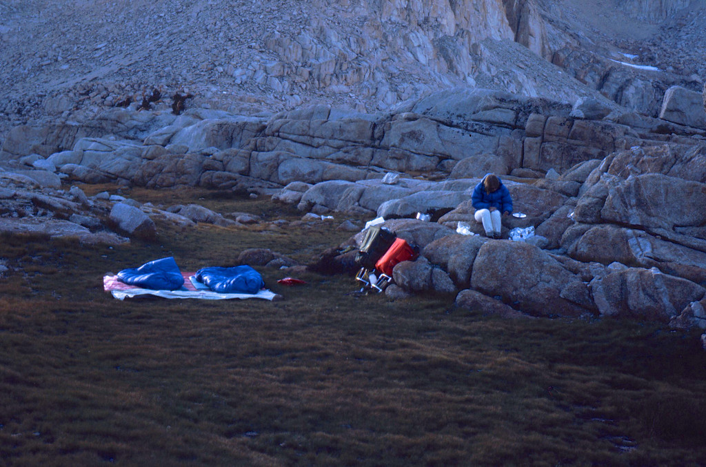 Note the warm cozy tent — it was quite cold at night even with the down bags