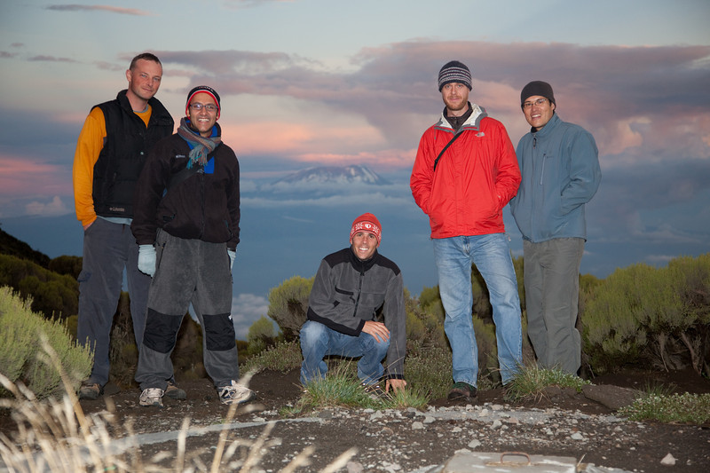 Mt. Kili group shot: Kyle, Areef, Adam, Ben and Roger