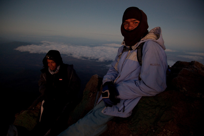 Our guides Freddy and Rasheed staying warm