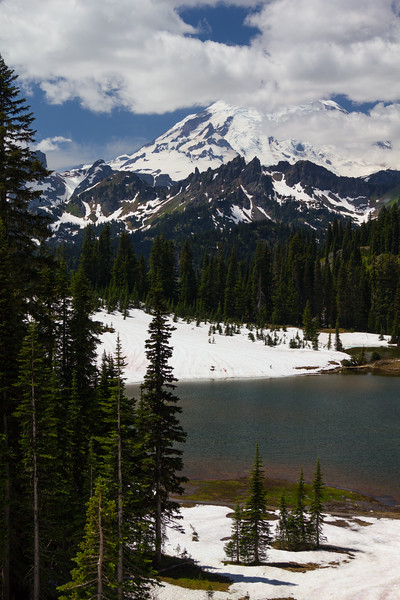 This is Tipsoo Lake on the eastern edge of the Park, still partially covered in snow.