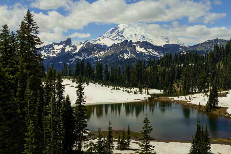 Landscape view of Tipsoo Lake.
