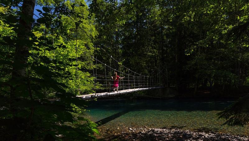 Grove of the Patriarchs foot bridge spanning the Ohanapecosh River.  Mt. Rainier National Park.