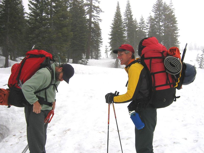 Pitr checks his gear out, while John gets ready to ski. We are carrying heavy backpacks up to our  next camp at Helen Lake (10,000 ft.).