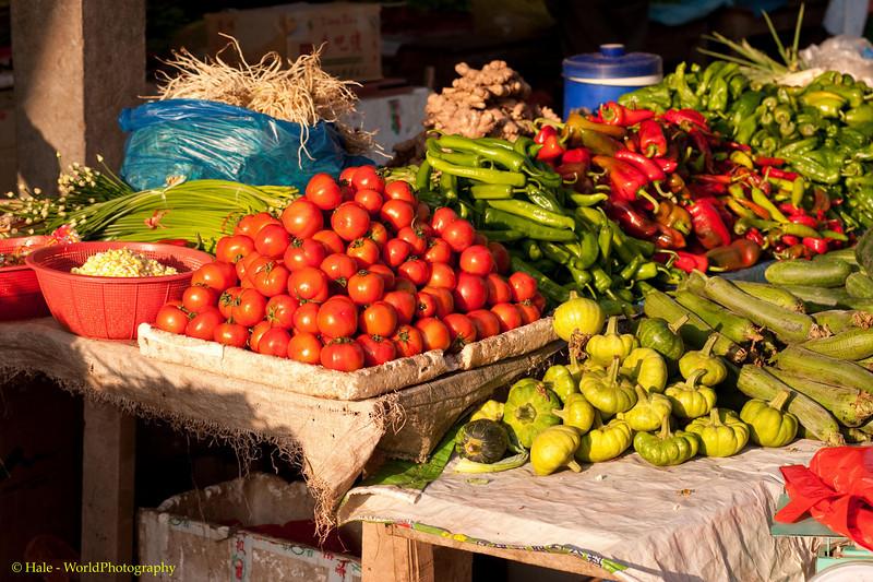 Fresh Vegetables For Sale At Muang Sing Laos Market