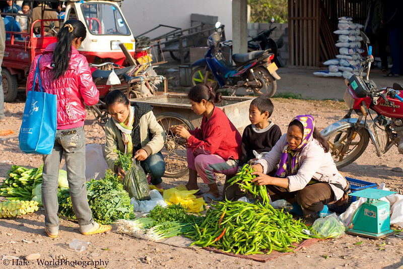 Selling Chili Peppers At Muang Sing Market, Laos