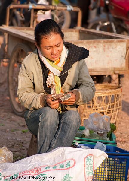 Vendor Counting Her Kip At Muang Sing, Laos Market