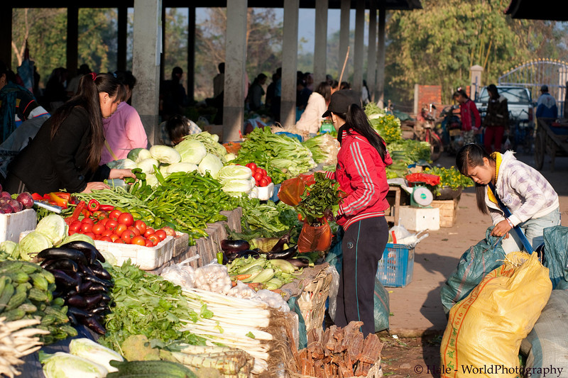 Stocking up On Fresh Produce At Muang Sing Market, Luang Namtha Province, Laos