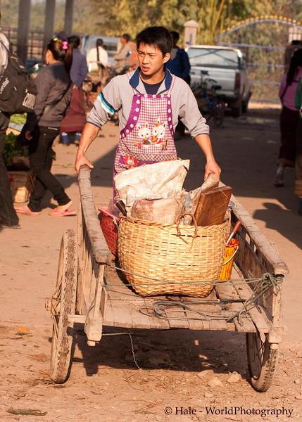 Vendor and Cart At Muang Sing Market, Laos