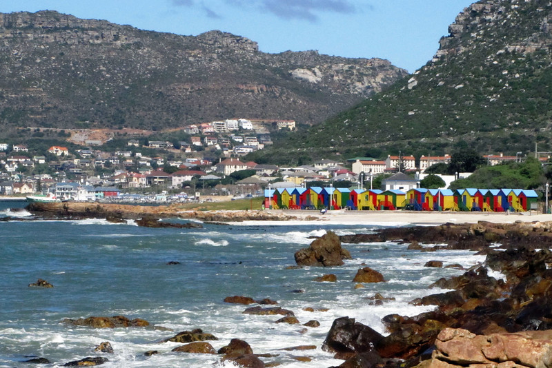 These colorful cottages dot the shoreline all along False Bay and are now used as changing rooms for surfers/bathers. At one time, some of them were used as overnight cabins.