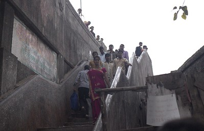 Mumbai Dhobi Ghat washing , stairs leading to the wash area from the road
