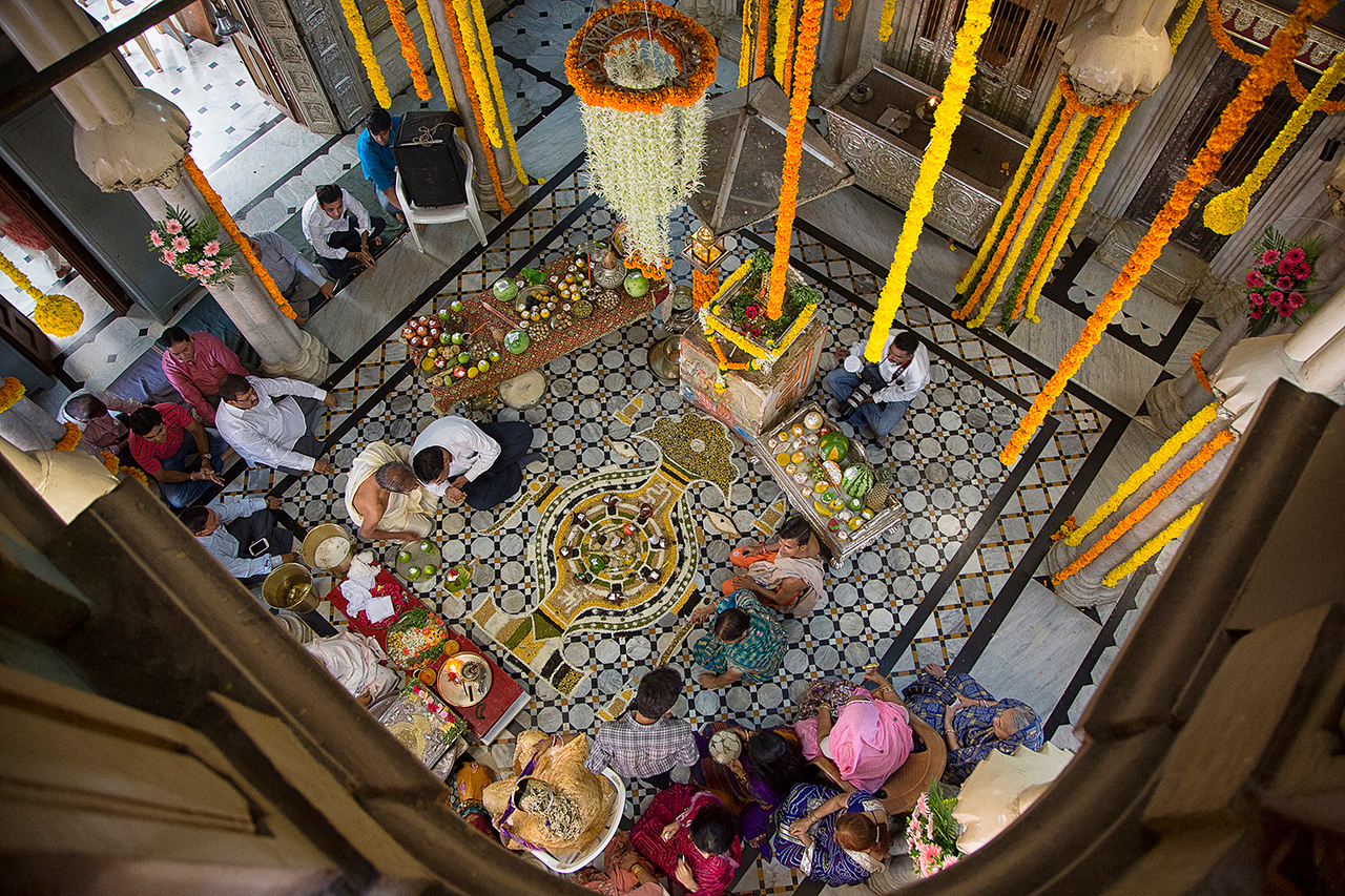 Inside temple with ceremony