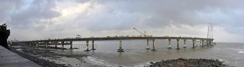 Panoramic view of Bandra to Worli Sea Link in Mumbai during the monsoon rains. Mumbai, MH, India