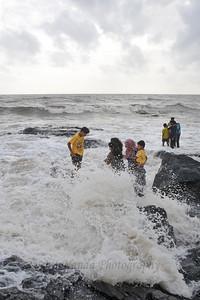 Bandra to Worli Sea Link in Mumbai during the monsoon rains. Mumbai, MH, India