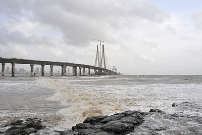 Bandra to Worli Sea Link in Mumbai during the monsoon rains. Mumbai, MH, India