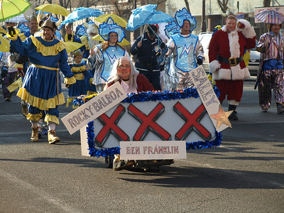 """The Venetian New Years Association presented """"Earth, Wind, and Mummers,"""" which included vikings, Santa, lightning bolted weather baby people, and oh yeah... Ben Franklin."""