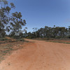Road in the Goolgowi / Merungi Gap area.  Note the two kangaroos running away in the middle right of the photo