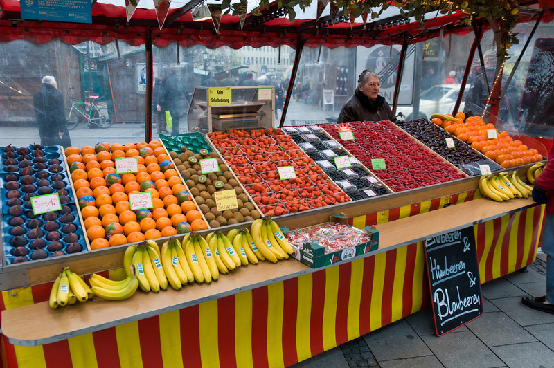 Fruit stand downtown Munich Germany